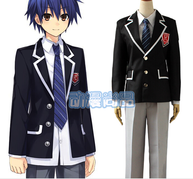 Anime DATE A LIVE cosplay Itsuka Shido  Uniforms Set  cos halloween party full set 4in1(Top Pants coat tie)