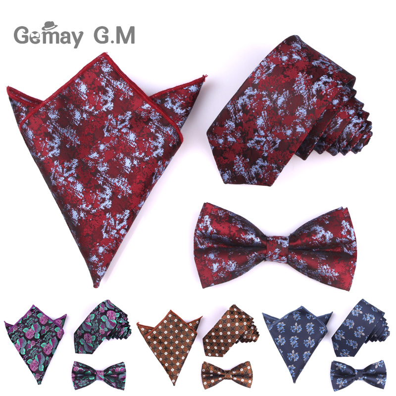 Bowtie Pocket Square Tie Sets For Men Jacquard Woven Floral Bowties Necktie and Handkerchief Set For Wedding Gifts Bow Tie Hanky