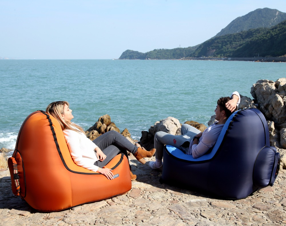 Image 4 - Indoor & Outdoor Hangout Inflatable Air Lounge Sofa Chair Living Room Bean Bag Lounger Camping Hiking Fishing Chairs Garden Sofa-in Garden Sofas from Furniture
