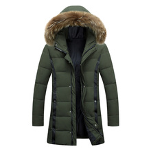 HuNiuHouZai 2017 new winter men's big fur collar parka coat Slim winter leisure cotton in the long section thick jacket outwear