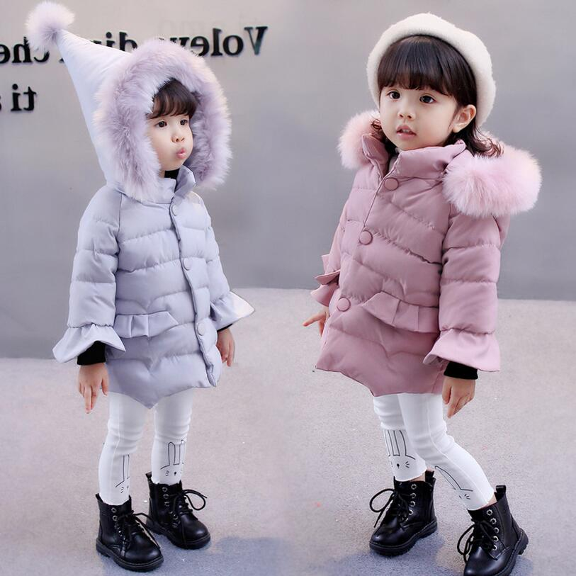 Baby Girls Winter Clothes Children Hooded Warm Jackets & Coats Girls Cotton-padded Outwear Baby Girls Coat for Christmas 2017 fashion boy winter down jackets children coats warm baby cotton parkas kids outerwears for