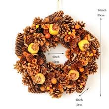 Ручной венок, дверь, природа, сосновые шишки, Осенний венок для свадьбы, сбора урожая, День благодарения, украшения для дома, деревенские осенние венки