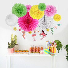 12pcs Hawaiian Party Decoration Set Happy Summer Photo Props Honeycomb Pineapple Centerpiece Flamingo Garland Tropical