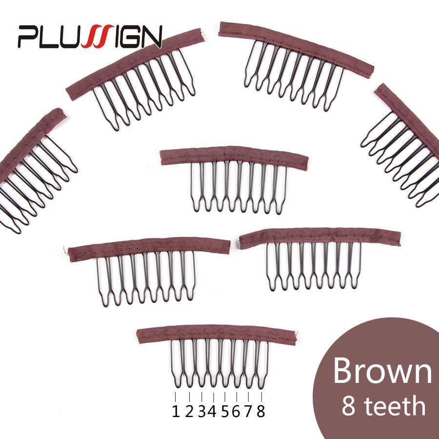 Pentear O Cabelo Clipe 10 Plussign Pcs Clips Para Perucas de Cabelo Por Atacado Extensão Do Cabelo Clipe Peruca De Aço Combsblack 6 Marrom Escuro & 8 dentes