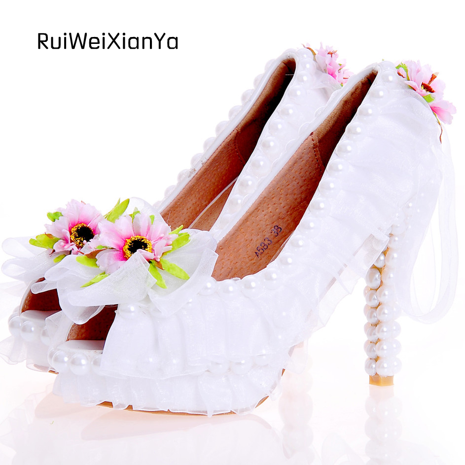 2017 New Fashion Spring Zapatos Mujer Open Toe High Heels Women Pumps Platform Lace White Wedding Shoes for Bridal Plus Size Hot 2017 new spring summer shoes for women high heeled wedding pointed toe fashion women s pumps ladies zapatos mujer high heels 9cm