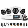 Hotting Sistema 4CH 720 P NVR Kit 4 UNIDS 1.0MP AHD Cámara Al Aire Libre IR Sistema de CIRCUITO CERRADO de televisión Sistema de Vigilancia de Vídeo con el Disco