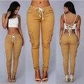 Calças da trilha das mulheres quente senhora sacos de calças casuais pantalon femme taille haute calças brancas bandagem calças de cordão fino T580
