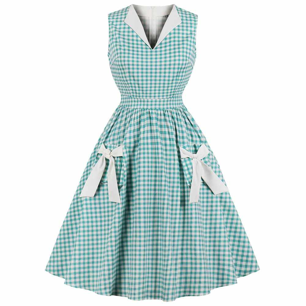 Joineles Одри Хепберн а-ля 60ые Для женщин юбка с высокой талией, в мелкую клетку, с бантом, Винтаж платье плюс Размеры 4xl вечерние платья юбка-американка