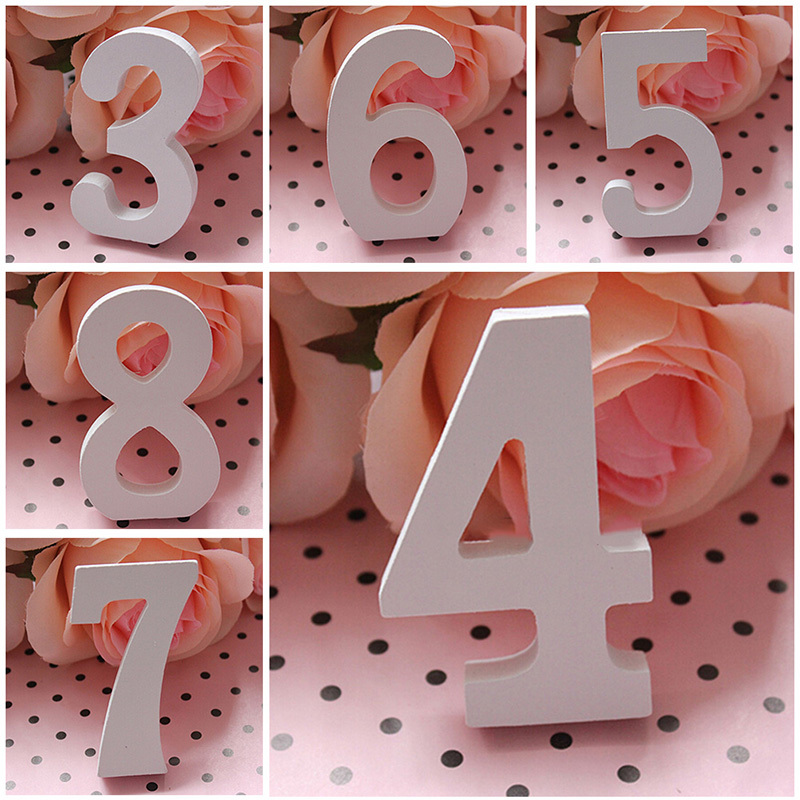 Party supplies white wood wooden letters alphabet numbers for Decoration 5 letters