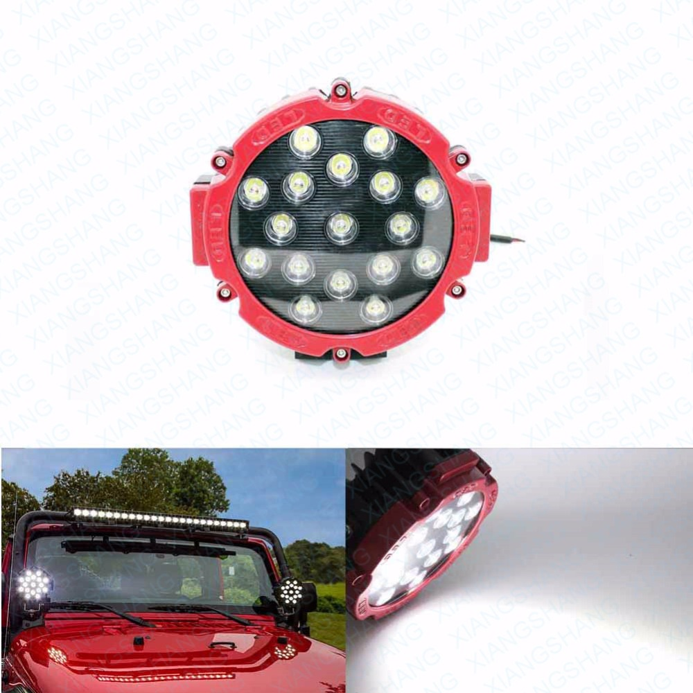 51W Auto Round LED Work Light High Power Spot 4x4 Offroad Car Worklights Lighting Truck ATV SUV Fog Lamp Driving Head light
