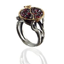 Vintage Silver Fruit Red Pomegranate Stone Ring Garnet Tree Vine Fashion Jewelry