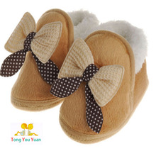Newborn baby boys and girls cute plus cashmere bow series toddler slippers cotton warm cotton wool bed first walk shoes xz17