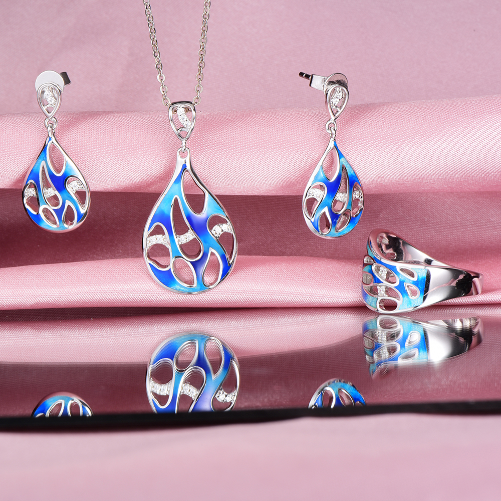 Authentic 100% 925 Sterling Silver Blue ocean enamel stub Earrings ring and Pendant Jewelry Set