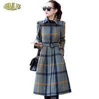 Autumn And Winter Women Dress High quality Plaid Long sleeve Long Dresses Comfortable Casual High waist Female Vestidos WK273