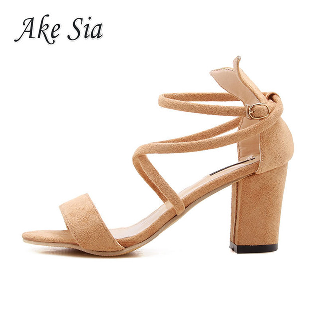 Cross strap buckle female sandals 2019  new female high heel sandals thick with shallow mouth fish mouth shoes  f001