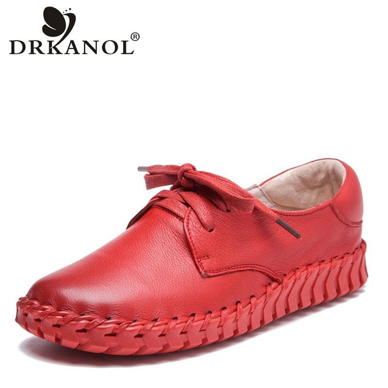 DRKANOL 2019 New Design Handmade Genuine Cow Leather Women Shoes Lace Up Round Toe Flat Casual