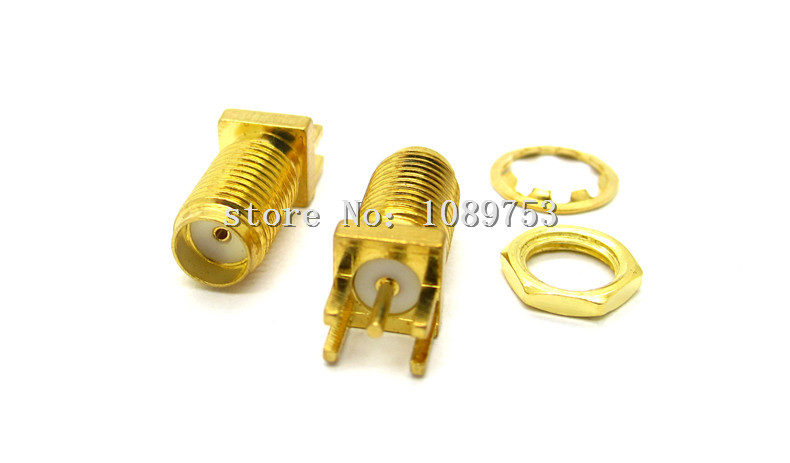 10PCS Gold SMA Female SMA-KE Jack Solder PCB Clip Edge Mount Straight RF Adapter Connector 18mm 2pcs pcb panel mount midi female din5 din 5 pin jack d501