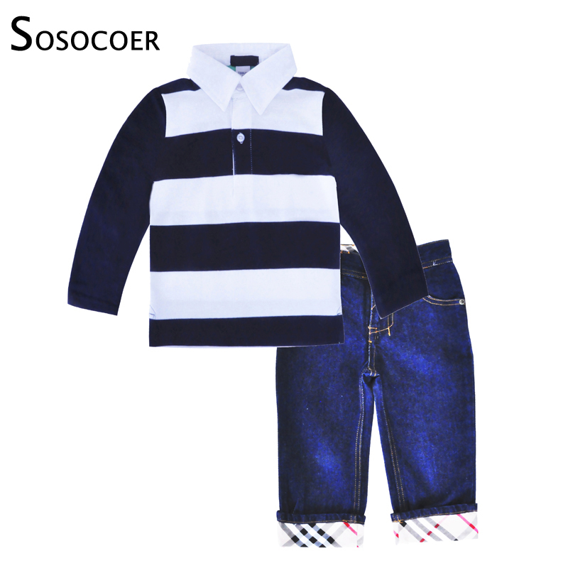 SOSOCOER Kids Boy Clothing Sets Fashion Children Clothing Set Spring Autumn Long Sleeve T Shirt Denim Pants Baby Boys Clothes free shipping spring autumn boys t shirt 5pcs lot high quality baby boy t shirt