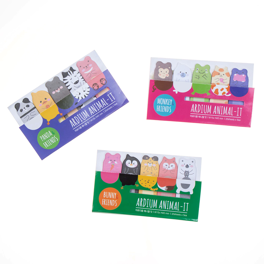 Hot 1pcs Cute Animal And Friends Memo Pad Sticky Note Page Marker Tab Flags Planner Kids Gift