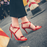 Chainingyee party style summer sandals glitter diamond lace belt buckle gold red purple silver stiletto high heels women's shoes