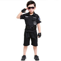 black police costume for children chinese police uniform cosplay clothing military clothing halloween cosplay