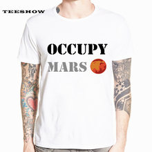Men's Space X T Shirt Tesla Tees Casual Top Design Popular Occupy Mars SpaceX Tshirt HCP4538(China)