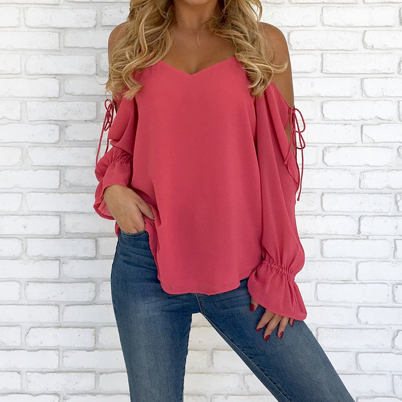 Women   Shirts   Long Sleeve Hollow Out Lace Up   Blouse     Shirts   Off Shoulder Women Tops Plus Size WS5829M