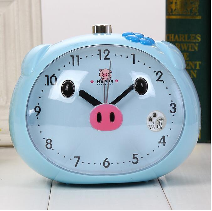 1 piece Speaker Pig Alarm Clock With LED Light Table Clocks Night Light Reloj Clock For Children Sleeping Cartoon Alarm Clocks