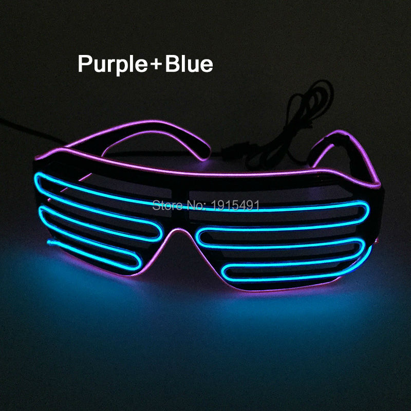 2017 New Brand Holiday Lighting EL wire Neon LED Light Up Shutter Shaped Glasses with DC-3V <font><b>Battery</b></font> Case For Rave Costume Party
