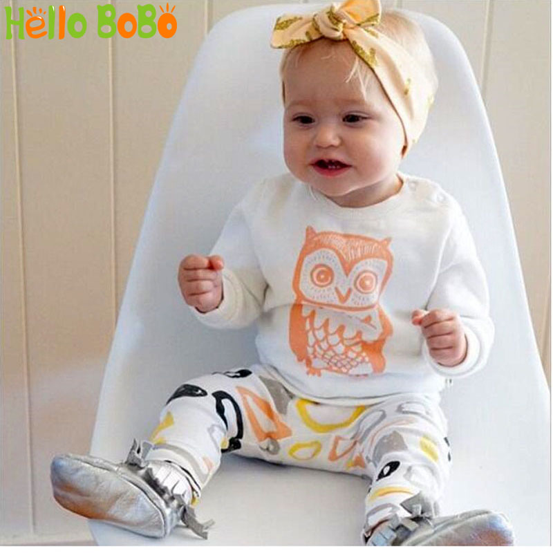 2016 Spring Clothes Baby Boys Clothing Sets White long Sleeve owl T-Shirt+ pants 2pcs suit