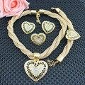 Дубай Свадебные Позолоченные Цвета Ожерелье Набор Ювелирных Украшений Устанавливает Партия Женщины Африканские Бусы Свадебный Браслет Серьги