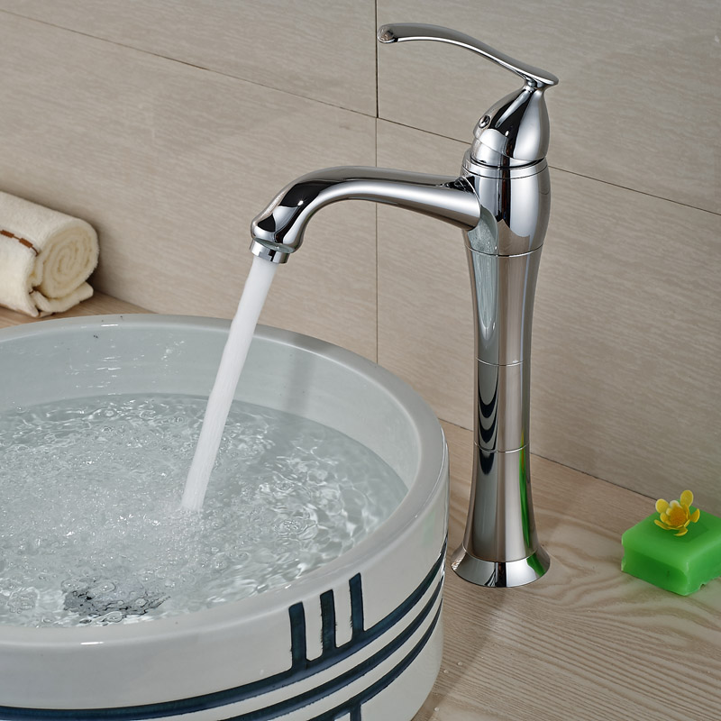 Polished Chrome Brass Deck Mount Basin Sink Faucet Single Handle hole with Hot and Cold Pipe
