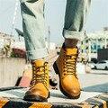 Botas Primavera Outono lace up ankle boots 2016 Marca dos homens Sapatas Dos Homens dos homens Tendência Da Moda Martin Bota de couro Curta calçado