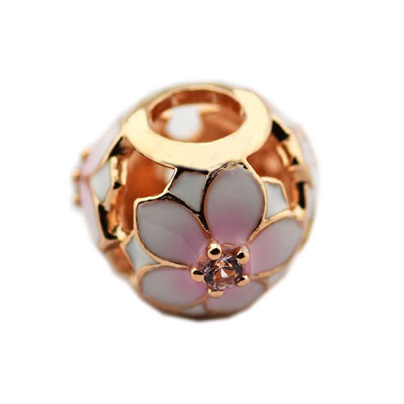 CKK 925 Sterling Silver Magnolia kwiat kwiat Charms koraliki pasuje oryginalne bransoletki urok srebrny 925 DIY tworzenia biżuterii berloques