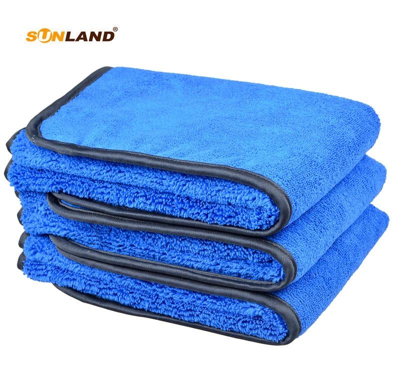 Serviette en microfibre lavage de voiture nettoyage séchage serviette en tissu différents côtés 400gsm (40x40 cm, Bluex3)
