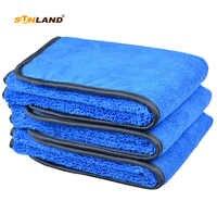 Toalla de microfibra para lavar el coche paño de secado toalla diferentes lados 400gsm (40x40 cm, Bluex3)