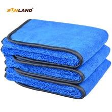 Микрофибра Полотенца Автомойка сушки ткани Полотенца разных сторон 400gsm(40x40 см, Bluex3