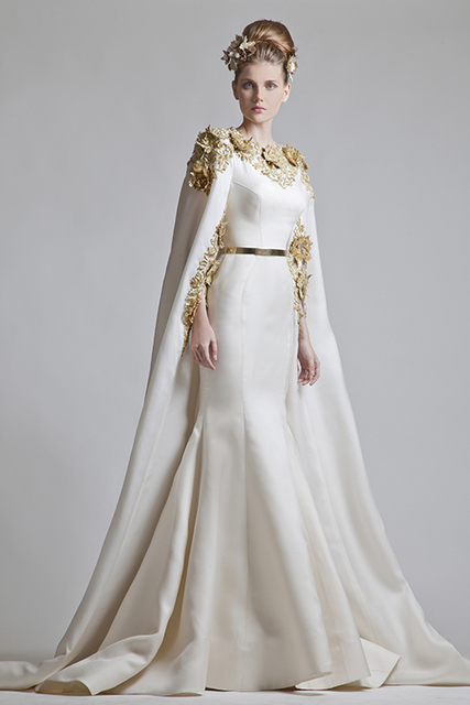 Special Design Mermaid Wedding Dresses With Watteau Train Floor Length Bridal Gowns Applique And Golden