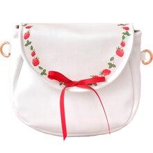 2018 Fashion New Arrival Strawberry Fruits Bow Ribbons Japan Style Soft PU Lady Women's Shoulder BAG Crossbody Bag Saddle Flap цены