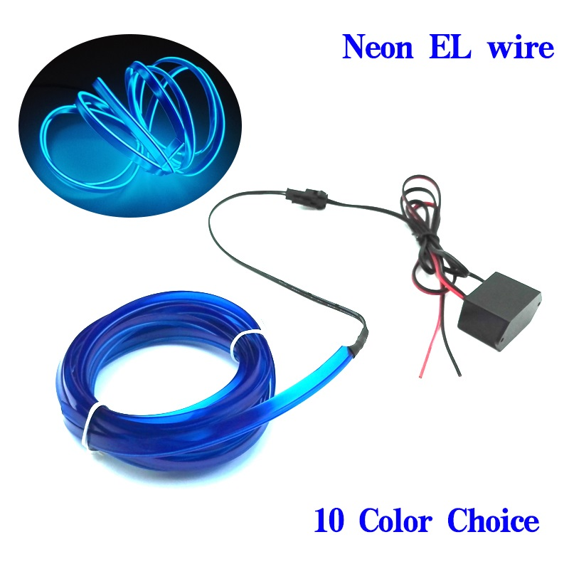 1m 5m Flexible Car EL Wire Neon Light Dance Festival Led strip EL lights With DC