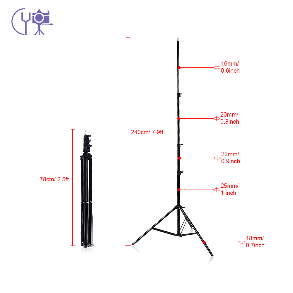 CY 2m/6.6ft Light Stand Tripod 1/4 Screw for Studio Photo Video Lighting Softbox Flashgun Lamps Umbrella Reflectors Background