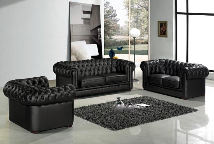 Chesterfield sofa modern  Sofa set living room furniture with genuine leather sofa modern ...