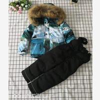 2019 Winter Children down jackets & Pant Print white goose down Coat hooded boys down jacket Modis kids outerwear ski suit Y1760