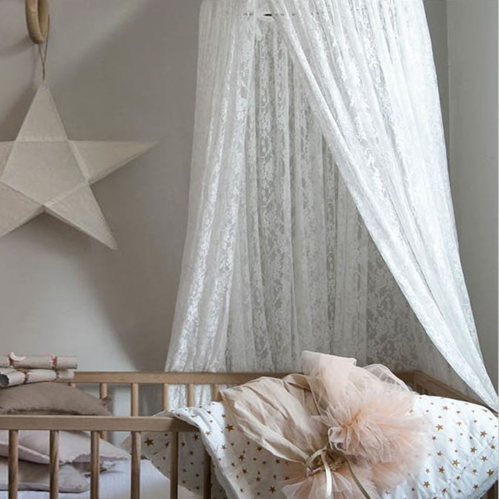 baby girls princess dome canopy nordic white lace kids bed curtains round mosquito nets room decoration bed hanging crib netting in crib netting from mother - Gray Canopy Decoration