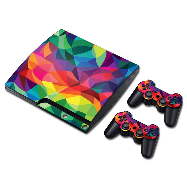 Easy install Vinyl Skin Sticker Protector for Sony PS3 Slim Skin for PlayStation 3 Slim Sticker and 2 controller Decal