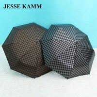 JESSEKAMM Striped Black Plastic Umbrella Business Umbrella Automatic Sunny Umbrella Black Plastic Anti Hot Transfer Process