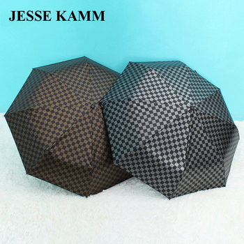 JESSEKAMM Men double business lattice innovation gold and silver handle personalized visual experience windproof umbrella фото