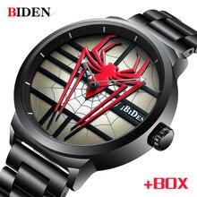 BIDEN мужской роскошный бренд часов, полностью стальные водонепроницаемые кварцевые наручные часы 2020, модные спортивные часы для мужчин, часы с человеком пауком