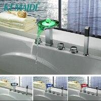 KEMAIDI Bathtub LED Faucet New 5 Holes Deck Mounted LED Waterfall Faucets,Mixers & Taps Legendary Luminous Pearl Faucets Set