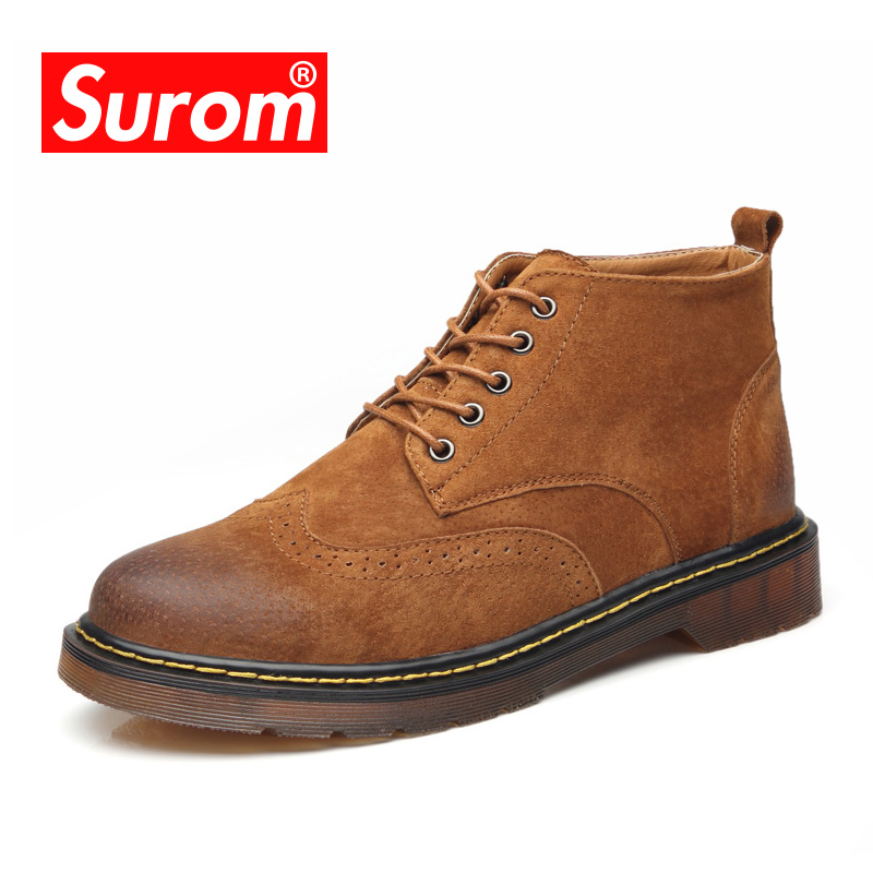 SUROM Genuine Leather Men's Oxfords Spring Winter Ankle motorcycle Boots Lace Up Men Martin Shoes Fashion Vintage Casual shoes men suede genuine leather boots men vintage ankle boot shoes lace up casual spring autumn mens shoes 2017 new fashion